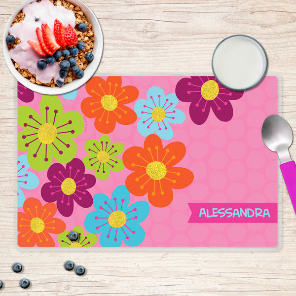 Spark & Spark. Shiny Bold Flowers Personalized Kids Placemat. Front