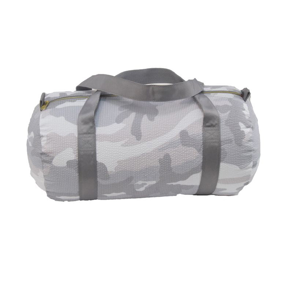 White Camo Seersucker Duffel - Give Wink