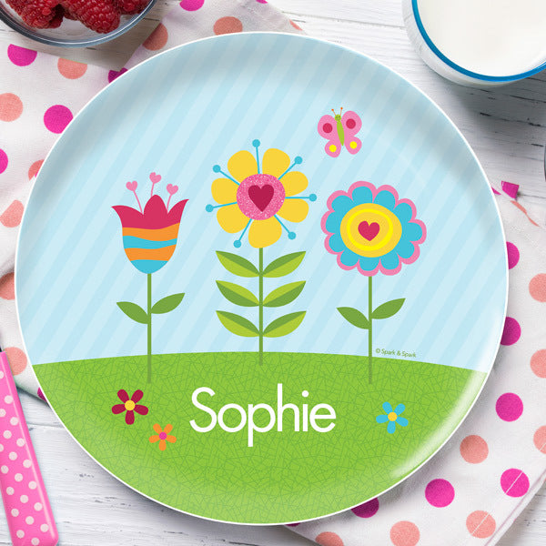 Spark and Spark. Spring Blooms Personalized Kids Plates. Miami Baby Store