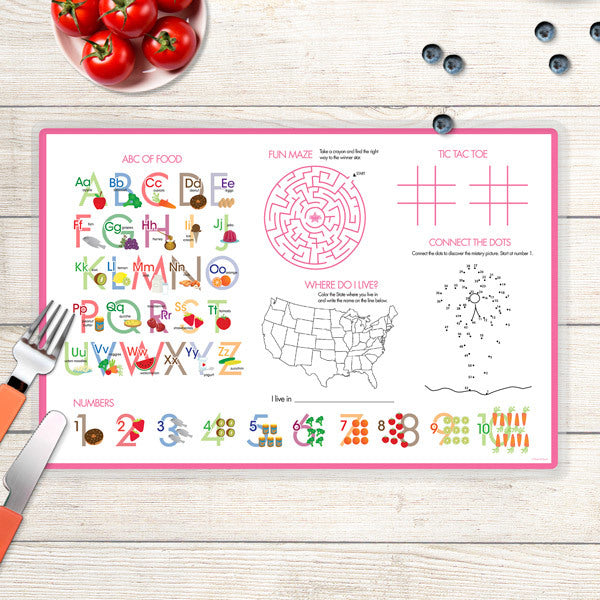 Spark & Spark. Spring Blooms Personalized Kids Placemat. Back