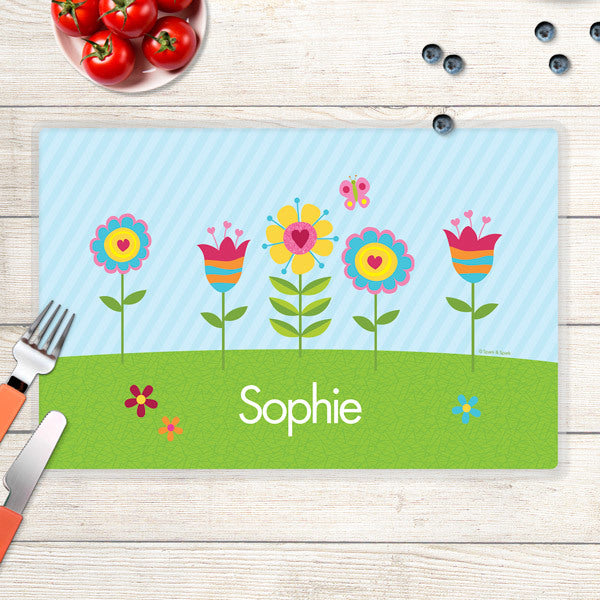 Spark & Spark. Spring Blooms Personalized Kids Placemat. Front
