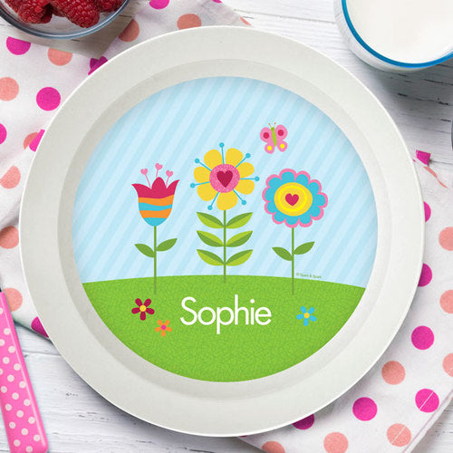 Spring Blooms Personalized Kids Bowl - Give Wink