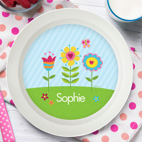 Spring Blooms Personalized Kids Bowl