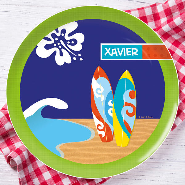 Boy Surfer Personalized Kids Plates - Give Wink