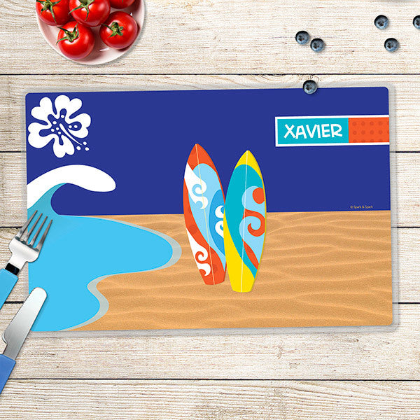 Boy Surfer Personalized Kids Placemat - Give Wink