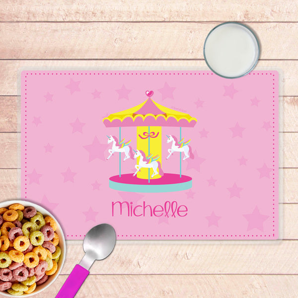 Sweet Carousel Personalized Kids Placemat - Give Wink