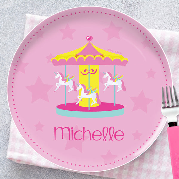 Spark and Spark. Sweet Carousel Personalized Kids Plates. Miami Baby Store