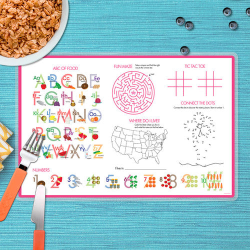 Spark & Spark. Sweet Flamingo Love Personalized Kids Placemat. back