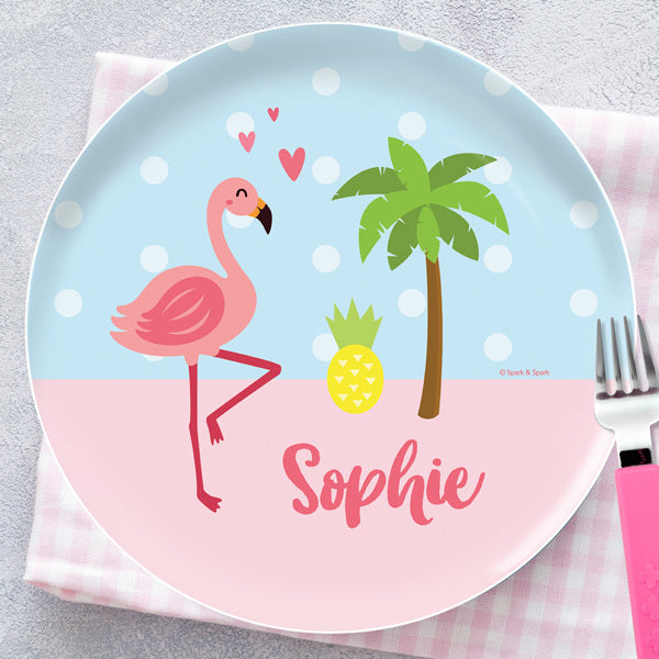 Sweet Flamingo Love Personalized Kids Plates - Give Wink