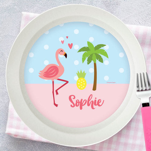 Sweet Flamingo Love Personalized Kids Bowl - Give Wink