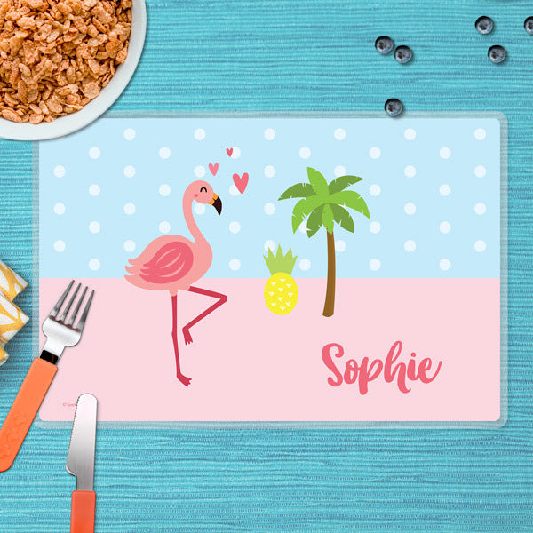 Spark & Spark. Sweet Flamingo Love Personalized Kids Placemat. front
