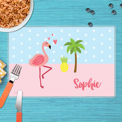 Sweet Flamingo Love Personalized Kids Placemat