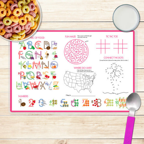 Spark & Spark. Sweet Unicorns Personalized Kids Placemat. Back