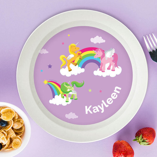 Sweet Unicorns Personalized Kids Bowl - Give Wink