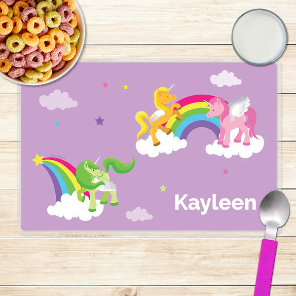 Spark & Spark. Sweet Unicorns Personalized Kids Placemat. Front