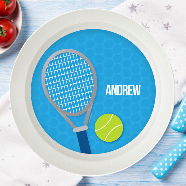 Tennis Fan Boy Personalized Kids Bowl - Give Wink