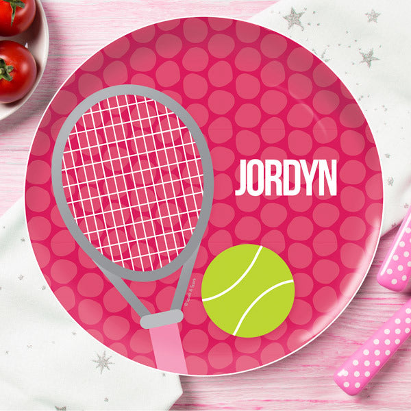 Tennis Fan Girl Personalized Kids Plates - Give Wink