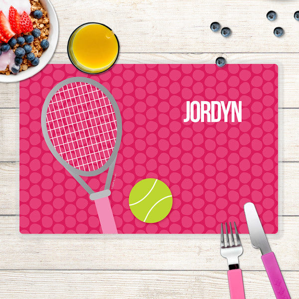 Spark & Spark. Tennis Fan Girl Personalized Kids Placemat. Front