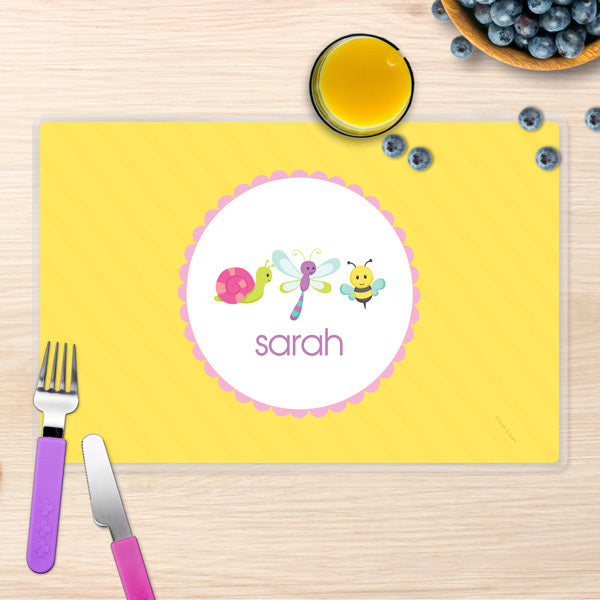 Spark & Spark. Three Sweet Little Bugs Personalized Kids Placemat. Front