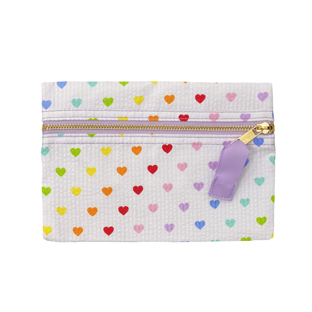 Tiny Hearts Flat Pouch - Give Wink