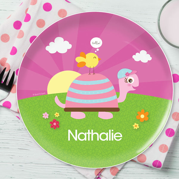 Turtle And Happy Bird Personalized Kids Plates. Miami Baby Store. Spark and Spark