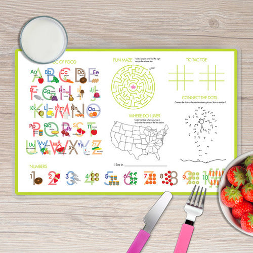 Spark & Spark. Turtle and Happy Bird Personalized Kids Placemat. Back