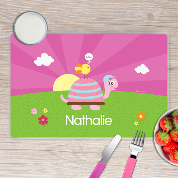 Spark & Spark. Turtle and Happy Bird Personalized Kids Placemat. Front