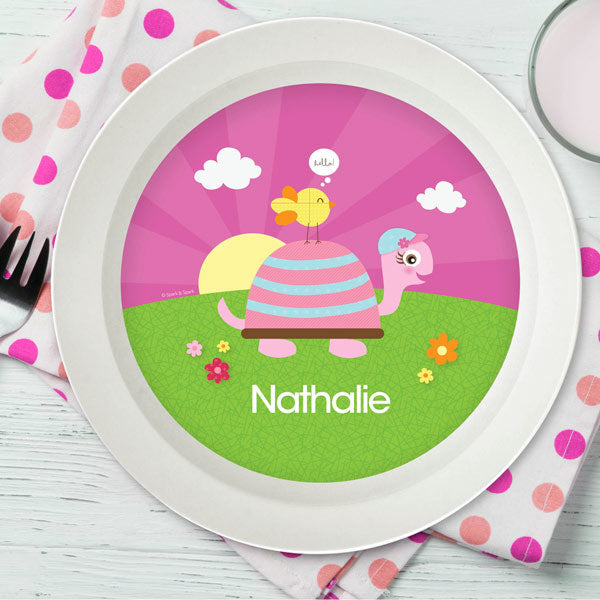Turtle and Happy Bird Personalized Kids Bowl - Give Wink