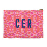 Bamboo Flat Zippered Clutch. Small. Miami Baby Store. Pink