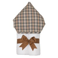 Brown Plaid Hooded Towel - Give Wink