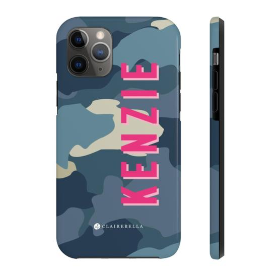 Clairebella Camo iPhone Tough Case 11. Miami Baby Store. Blue