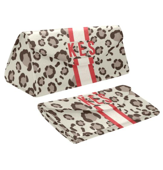 Clairebella. Spots Eyewear Case. Miami Baby Store. Tan / Red