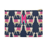 Llama Flat Zippered Clutch. Small. Miami Baby Store. Navy