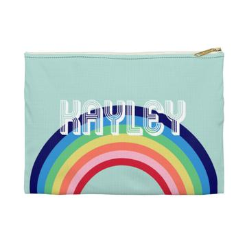 Rainbow Flat Zippered Clutch. Small. Miami Baby Store. Blue