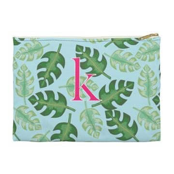 Tropical Flat Zippered Clutch. Miami Baby Store. Blue