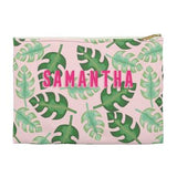 Tropical Flat Zippered Clutch. Miami Baby Store. Pink