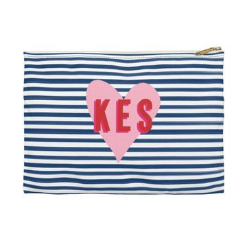 Stripe & Heart Flat Zippered Clutch - Small - Give Wink