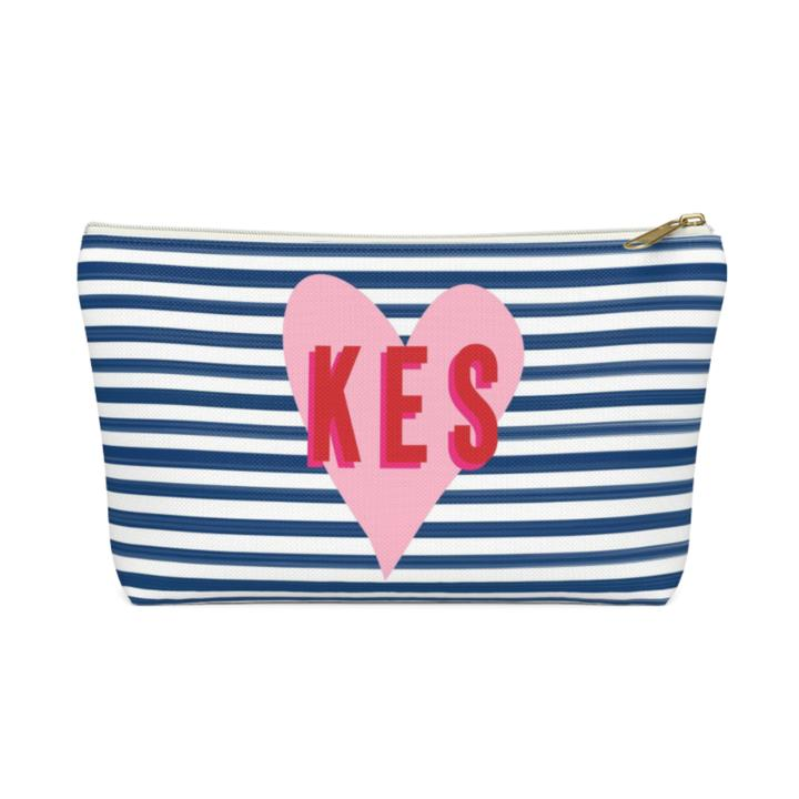 Stripes & Heart Zippered Pouch - Large - Give Wink