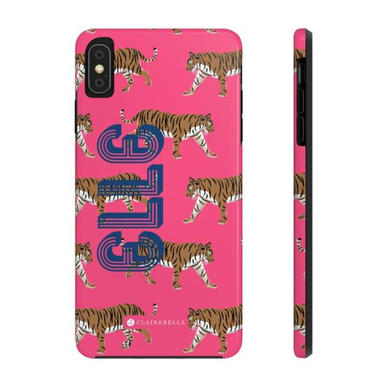 Clairebella Tiger iPhone Tough Case XR. Miami Baby Store. Pink