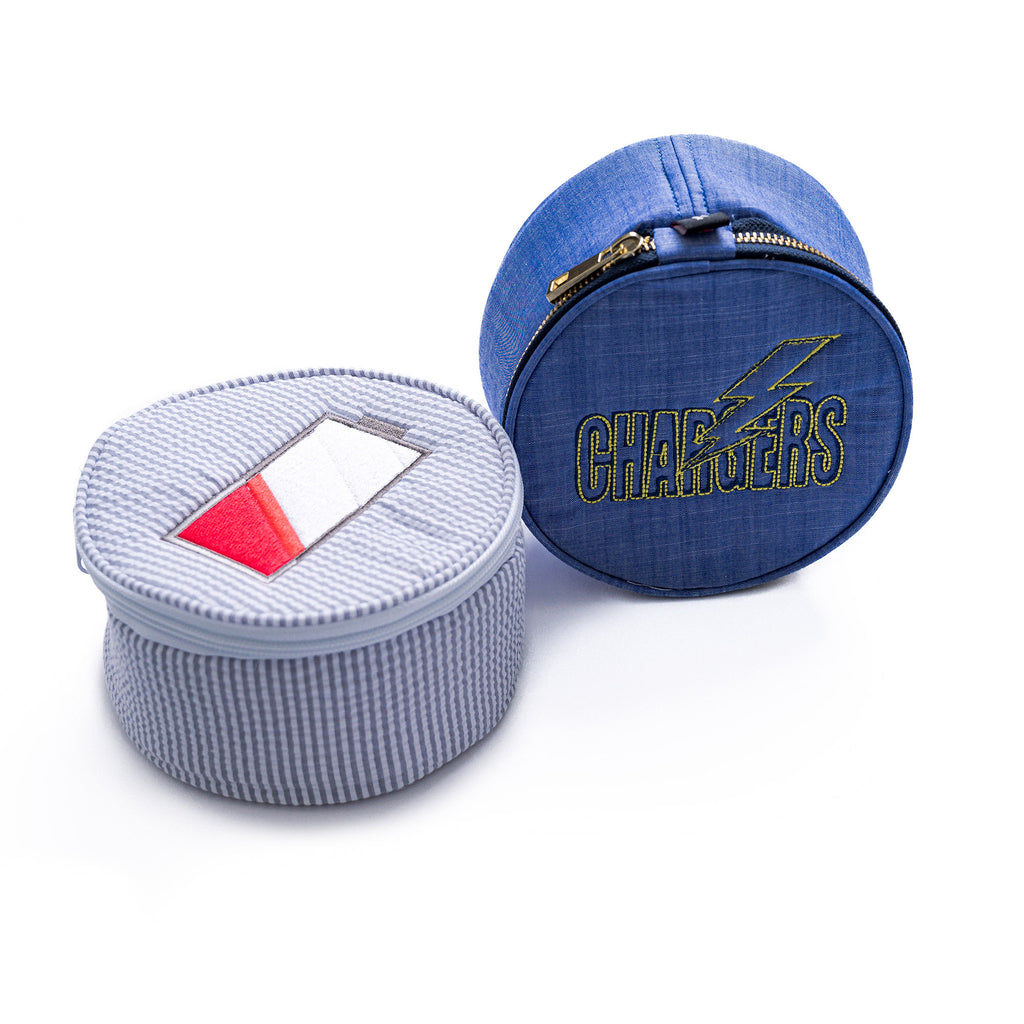 Grey Seersucker Round Multi Purpose Pouch - Give Wink