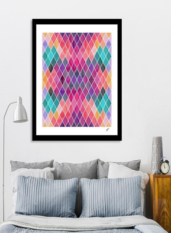 Framed Art - Watercolor Geometric Patterns - Give Wink