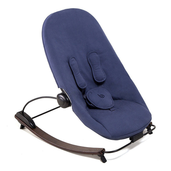 Coco go 3-in-1 Lounger with seat pad in organic cotton - Bloom - Capuccino / Blue Navy