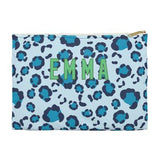 Leopard Spot Flat Zippered Clutch. Small. Miami Baby Store. Blue
