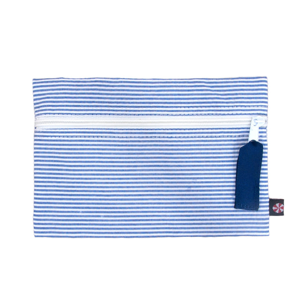 Navy Blue Seersucker Flat Pouch - Give Wink