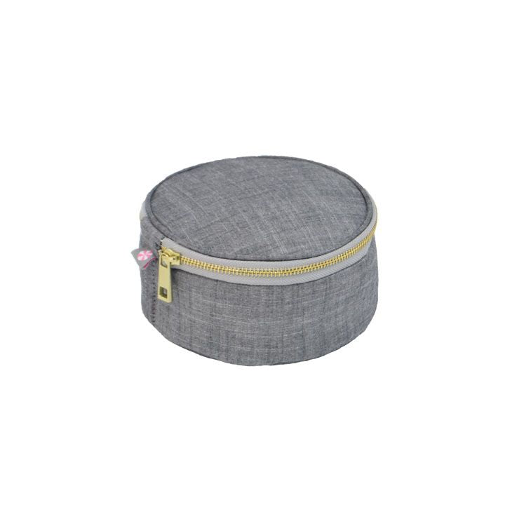 Grey Chambray Round Multi Purpose Pouch - Give Wink