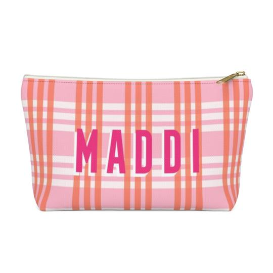Clairebella Grayson Plaid Zippered Pouch - Small. Miami Baby Store. Pink