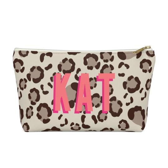 Clairebella Leopard Spots Zippered Pouch - Small. Miami Baby Store. Tan