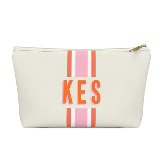 Stripe Zippered Pouch - Small - Give Wink