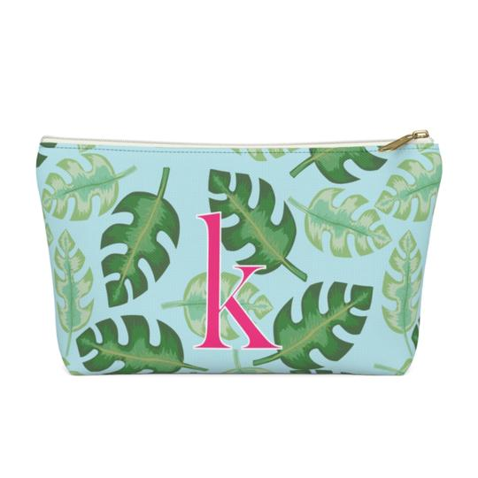Clairebella. Tropical. Zippered Pouch - Large. Miami Baby Store. Blue