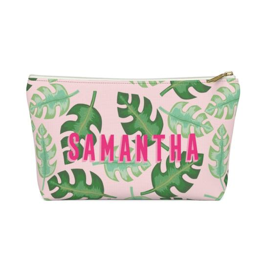 Clairebella Tropical Zippered Pouch - Small. Miami Baby Store. Pink